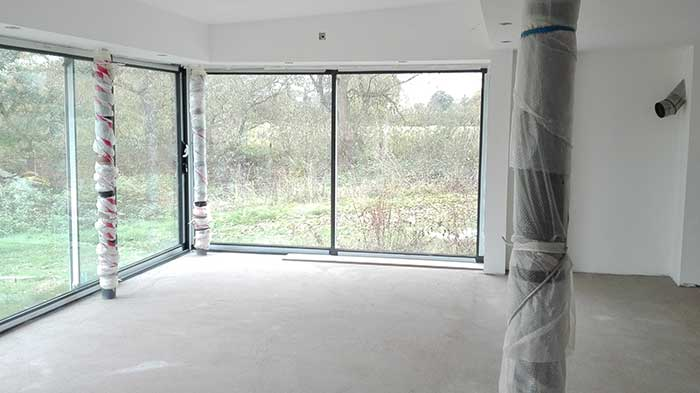 Inside Sun Room showing steelwork with black powder coated steel posts